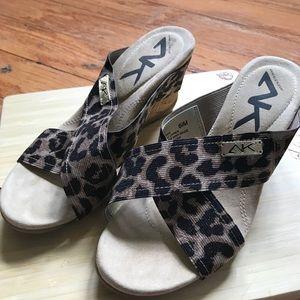 Anne Klein Sport leopard wedge sandals, 6.5